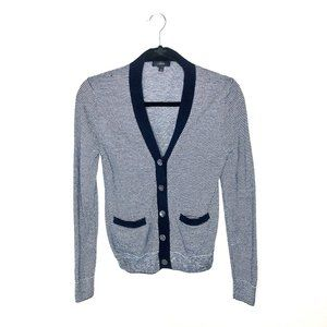 J. Crew Navy and Gray Pinstripe Button-Up Cardigan